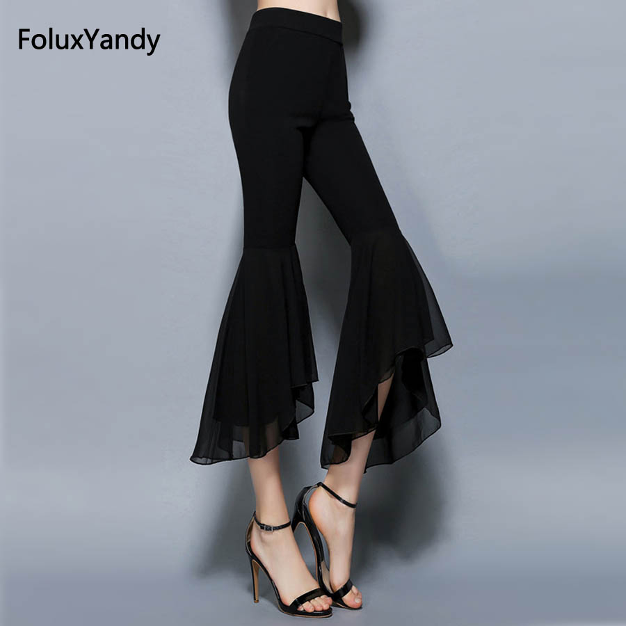 Calf-Length Stretched   Pants   Women 2018 Casual Slim Skinny Elastic High Waist Chiffon Flare   Pants   Trousers   Capris   Black SSQZ15