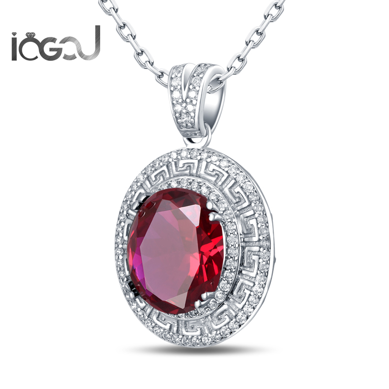 IOGOU HipHop Shunning Pendants Oval Cut White Gold Color 925 Sterling Silver Red Sona Simulated Wedding Engagement Jewelry GiftsIOGOU HipHop Shunning Pendants Oval Cut White Gold Color 925 Sterling Silver Red Sona Simulated Wedding Engagement Jewelry Gifts