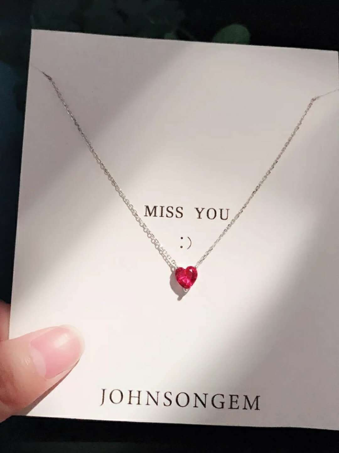 Korean 925 sterling Silver Red Necklace corundum crystal red heart shaped clavicle chain crystal pendant with chain jewelry