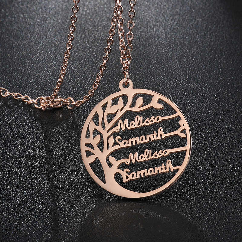 Tree Of Life ส่วนบุคคล Custom ชื่อสร้อยคอ 4 ชื่อ Custom Gold Silver ป้ายสร้อยคอสำหรับงานแต่งงานของขวัญเครื่องประดับ