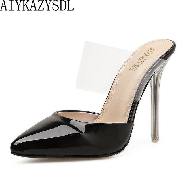 2c163e79d58c0 AIYKAZYSDL Women High Heel Elegant Shoes Pointy Toe Faux Patent Leather  Transparent Clear Strap Mule Slide Sandals Stilettos