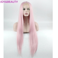 JOY BEAUTY Hair Woman Naturally Smooth Long Straight Wig Synthetic Lace Front Wig Pink 28inch High