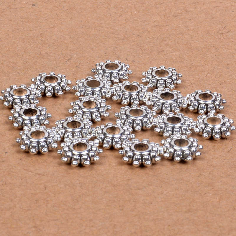 50 pcs 9mm tybetański srebrny/Bronze Tone Daisy kwiat koła Charm Loose Spacer metalowe koraliki do tworzenia biżuterii robótki akcesoria