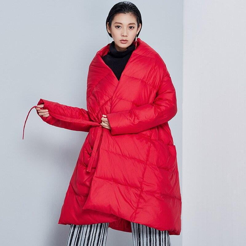 Nouvelle Manteau 2016 Arrivée Blanc aigyptos bc Ligne Le Une Lâche Nouveauté Personnalité Hiver Bas Veste Canard Femmes Noir Longue rouge blanc Robe Vers 90 pFI5q