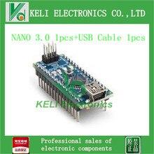 Бесплатная Доставка 2 ШТ./ЛОТ = 1 ШТ. Nano 3.0 Atmel ATmega328 Mini-USB Доска + 1 шт. USB Кабель