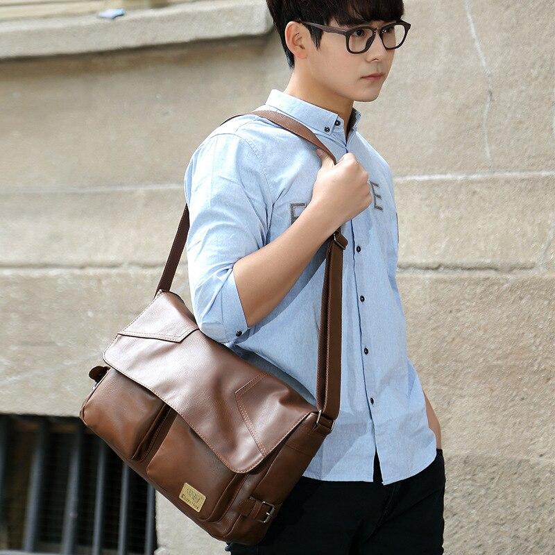 Three-box Brand Men Leather Casual Large Capacity Messenger Bag Man Vintage Crossbody Shoulder Bag Busines Travel Bags Bolsas 5