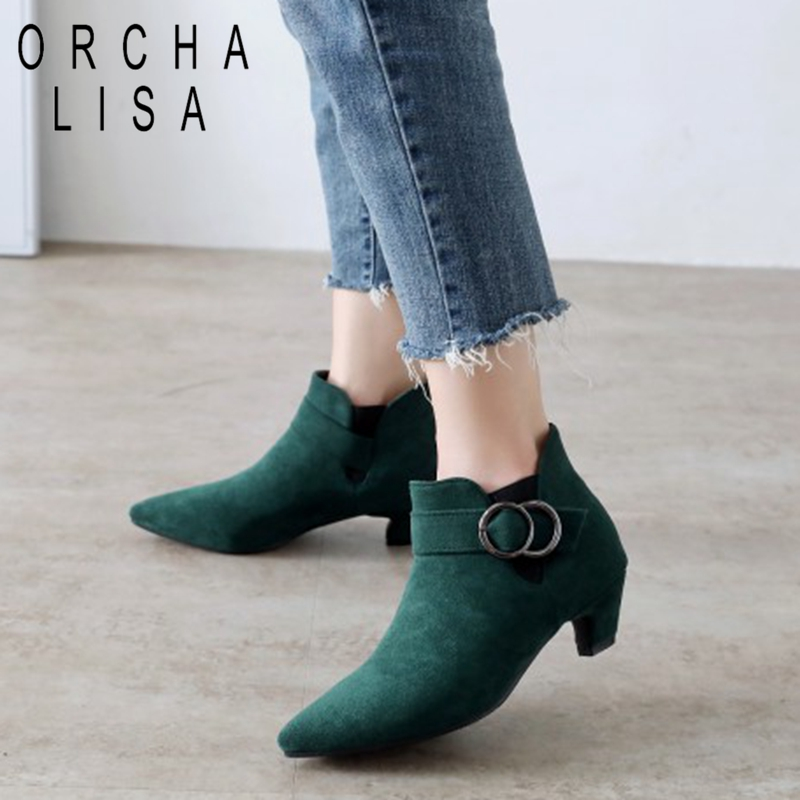 ORCHA LISA Big Size 43 44 Women Low Heels Ankle Boots Comfortable Chelsea Boots Pointed Toe Short Heel Shoes Botas Mujer