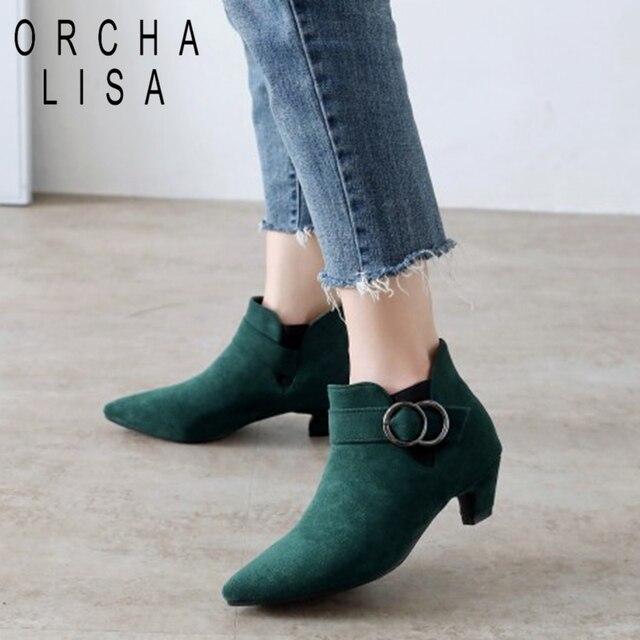ORCHA LISA Artı Boyutu 44 Bayan yarım çizmeler yavru topuk chelsea Çizmeler Kadın sivri burun kısa topuk ayakkabı sonbahar bahar C911