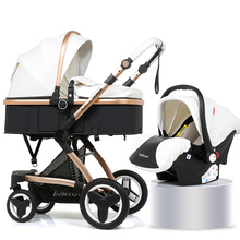 PU Luxury Car Seat Stroller Baby 3 In 1 Pram 2 Safe Chair Foldable For Dolls Accessories