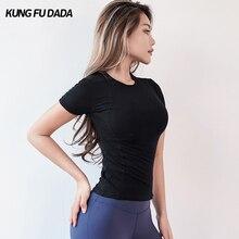 KFDD спортивные топы для фитнеса, для спортзала, для женщин, высокая Растяжка, мягкая Спортивная футболка с коротким рукавом для йоги, для женщин, для занятий спортом, для бега, быстросохнущая
