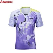 2017 KAWASAKI ST-171004 Summer Men Tennis T-Shirts Super Light Short-sleeved V Collar Badminton Shirts For Male Sports Running
