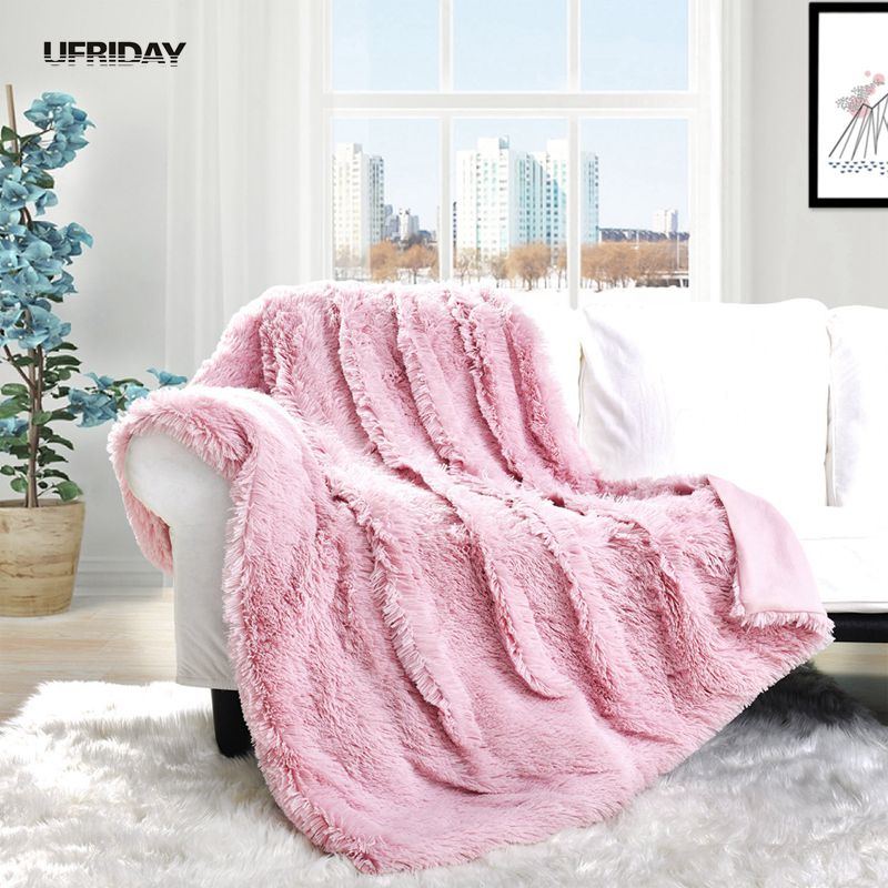 Supply Super Soft Faux Fur Blanket Warm Solid Shaggy A Blanket Throw Rug 8 Colors For Sofa Bedding Power Source