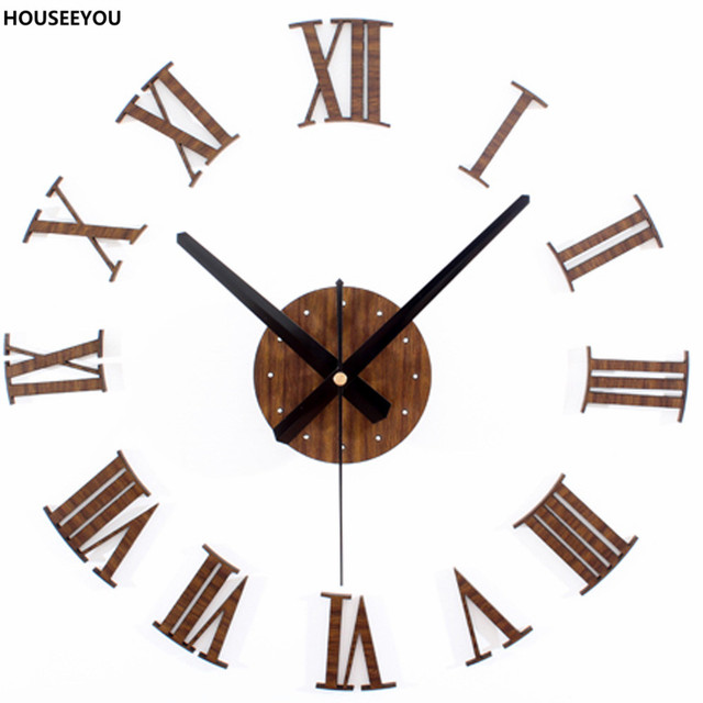 Eropa antik kayu jam dinding sticker angka romawi retro vinyl sticker  menggantung menonton dekorasi rumah untuk a6e8c5de64
