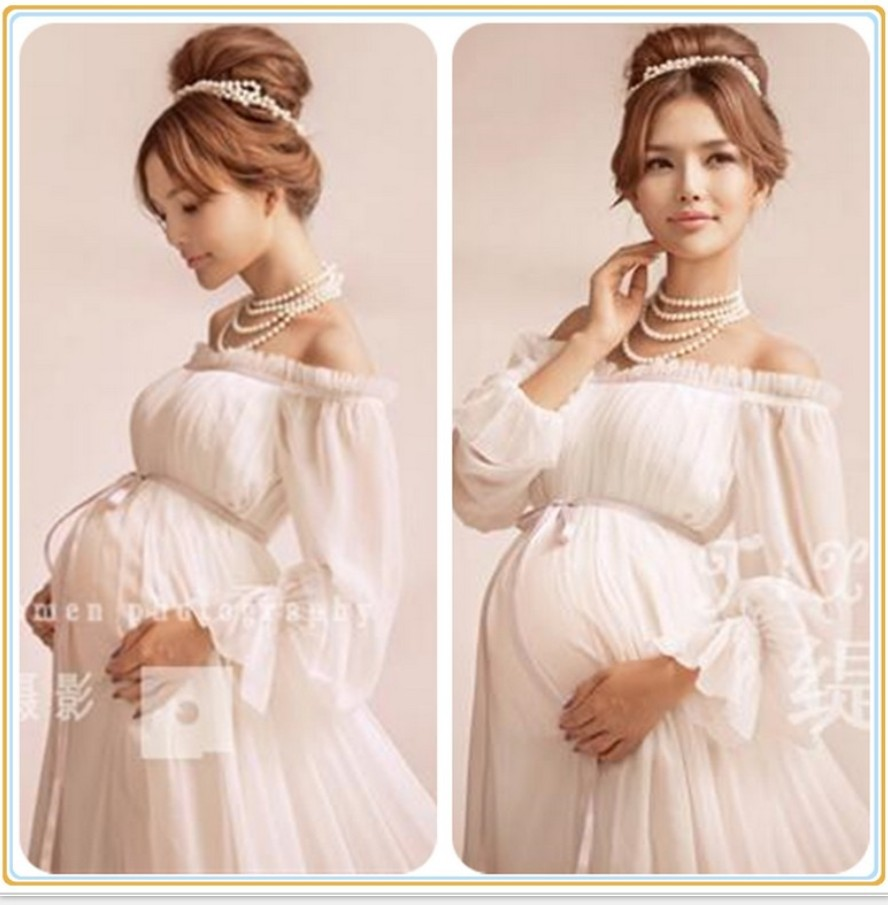 все цены на 2018 Royal Style White Maternity Lace Dress Pregnant Photography Props Pregnancy maternity photo shoot long dress Nightdress