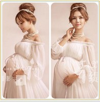 2018 Royal Style White Maternity Lace Dress Pregnant Photography Props Pregnancy maternity photo shoot long dress Nightdress