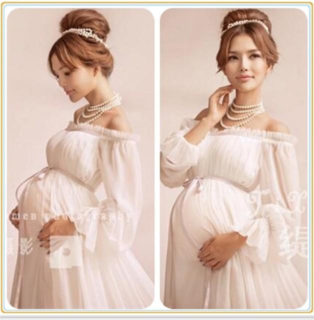 f0fc05295a498 2019 Royal Style White Maternity Lace Dress Pregnant Photography Props  Pregnancy maternity photo shoot long dress Nightdress