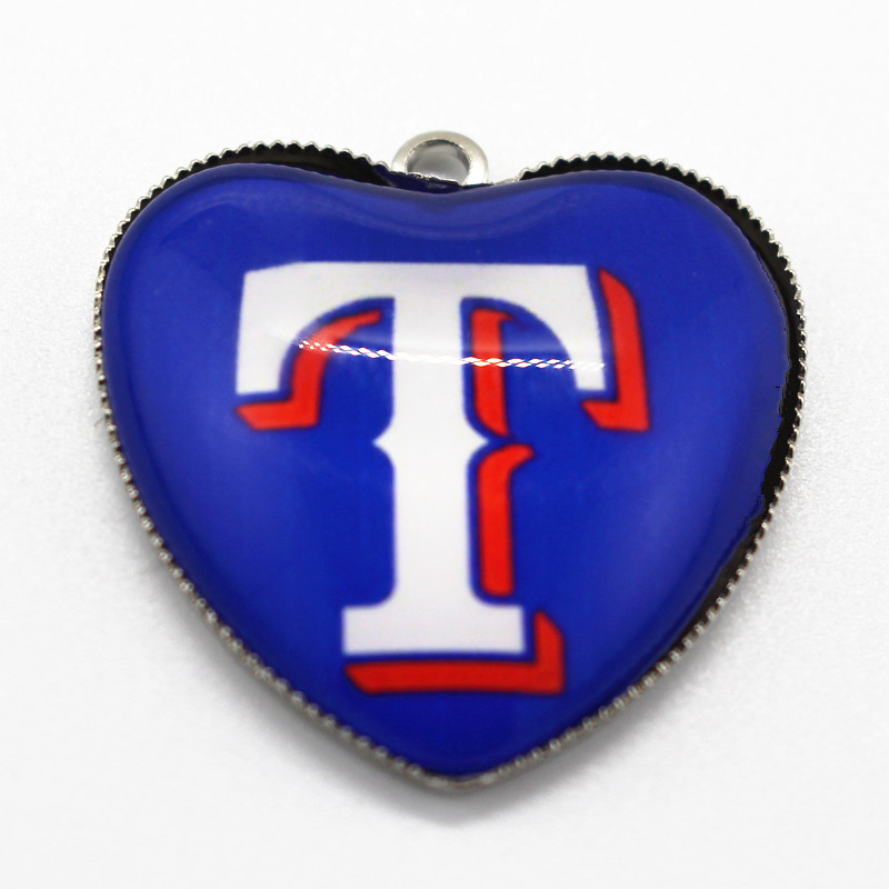 New arrive 10pcs/lot Texas Rangers baseball team dangle charms heart glass pendant floating charms fit jewelry making
