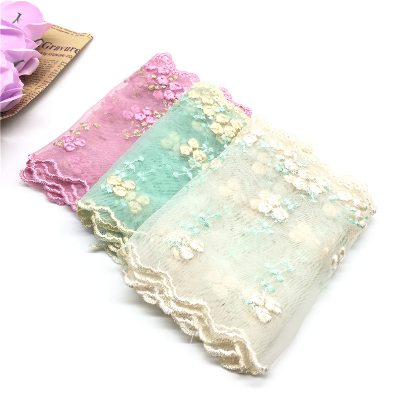 Beautiful 1 Yard Embroidered Tulle Lace Wide 14cm Lace Fabric DIY Handmade Lace for Sewing Accessories Embroidered Clothing in Lace from Home Garden
