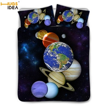 HUGSIDEA Space Galaxy Bedding Set Duvet Cover Universe Bed Set 3pcs Galaxy Print Bedclothes For Kids Adults Single King Twin