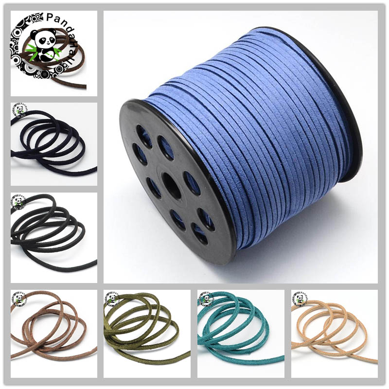 Flat Faux Suede Cord 3mm Bracelets Necklace Diy Accessories For Jewelry Making About 90m/roll