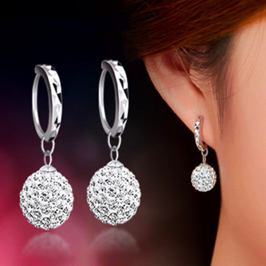 Ms. Shambhala luxury crystal teardrop-shaped earrings sparkle princess ball ear rings popular silver jewelry simple temperament