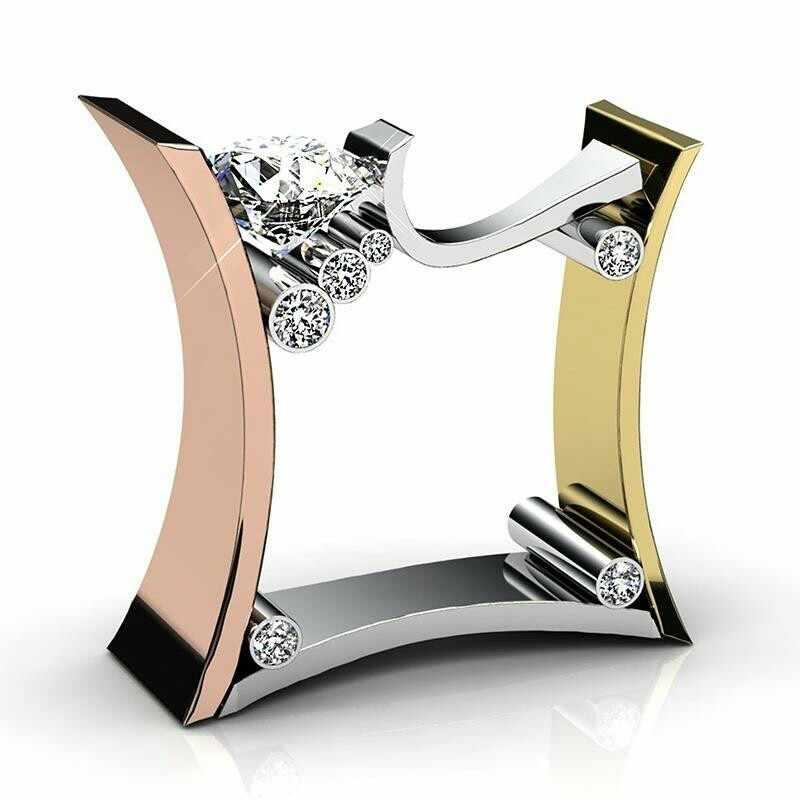 Tisonliz 3 สี Rose Gold Silver Gold แหวน Micro Inclay แหวนคริสตัลหรูหราสีขาว Zircon หมั้นแหวนเครื่องประดับ