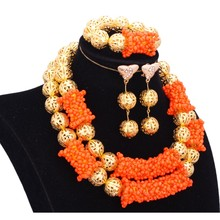 hot deal buy dudo jewelry bridal jewelry sets plated gold color orange nigerian wedding jewelry set free shipping 2018 ladies gift set new