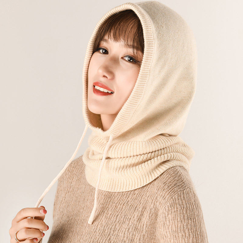 2019 Women's Winter Multi-functional Knitted Cashmere Wool Skullies Hat Collar Set Beanies Hats Female Hooded Earmuffs Scarf Cap