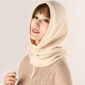 Bonnet d'hiver multifonctionnel tricoté en laine de cachemire   Bonnet Skullies, ensemble à col en laine, bonnets chapeaux pour femmes, couvre-oreilles à capuche, bonnet écharpe 2019
