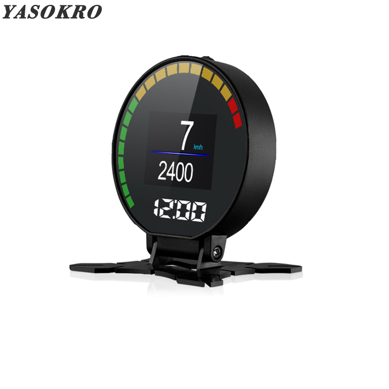 Newest YSR15 OBD2 Heads Up Display Hud Display Car OBD Speed Projector Digital Car Speedometer Mileage Fuel Consumption RPM Temp 5 8 inch car hud obd2 digital speedometer car windscreen projector head up display fuel speed rpm voltage alarm two display mode