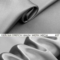 SILK STRETCH SATIN 140cm width 16momme Pure Silk Fabric+Spandex Stretch Fabric Silk Dress Sewing Fabrics Silver Grey NO 27