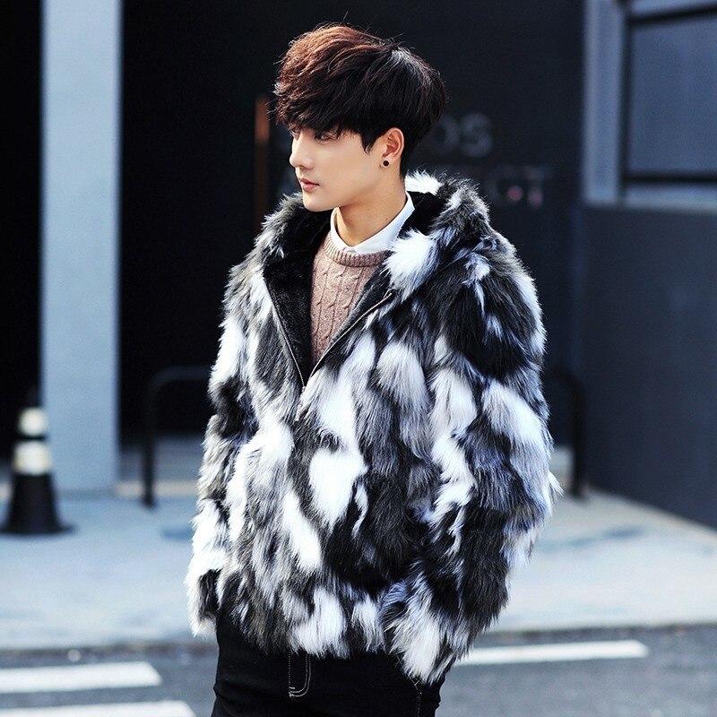 Erkek Kıyafeti'ten Yapay Deri Paltolar'de Kış erkek kürk palto Erkek Kürk Mont Ile Kaput FurParka Büyük Boy Erkekler Kürk Palto Sıcak Faux Kürk Ceket Erkekler'da  Grup 3