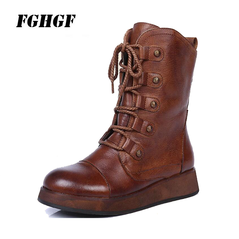 All leather high top leather boots wear resisting round head thick bottom side zipper new European