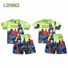 New summer children boy pyjamas kids clothes boys set short sleeve sets spiderman Iron Man Short pajamas