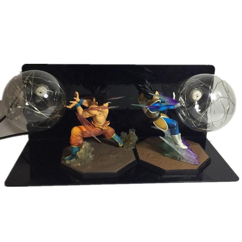 DROPSHIPPIN créatif Dragon Ball Z figurine d'action lampe à LED Son Goku vs végéta LED veilleuse combat Flash balle bricolage affichage jouet