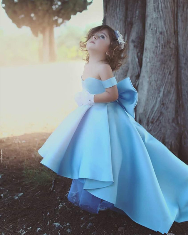Sky Blue 2019   Flower     Girl     Dresses   For Weddings Ball Gown Off The Shoulder Bow Long First Communion   Dresses   For Little   Girls