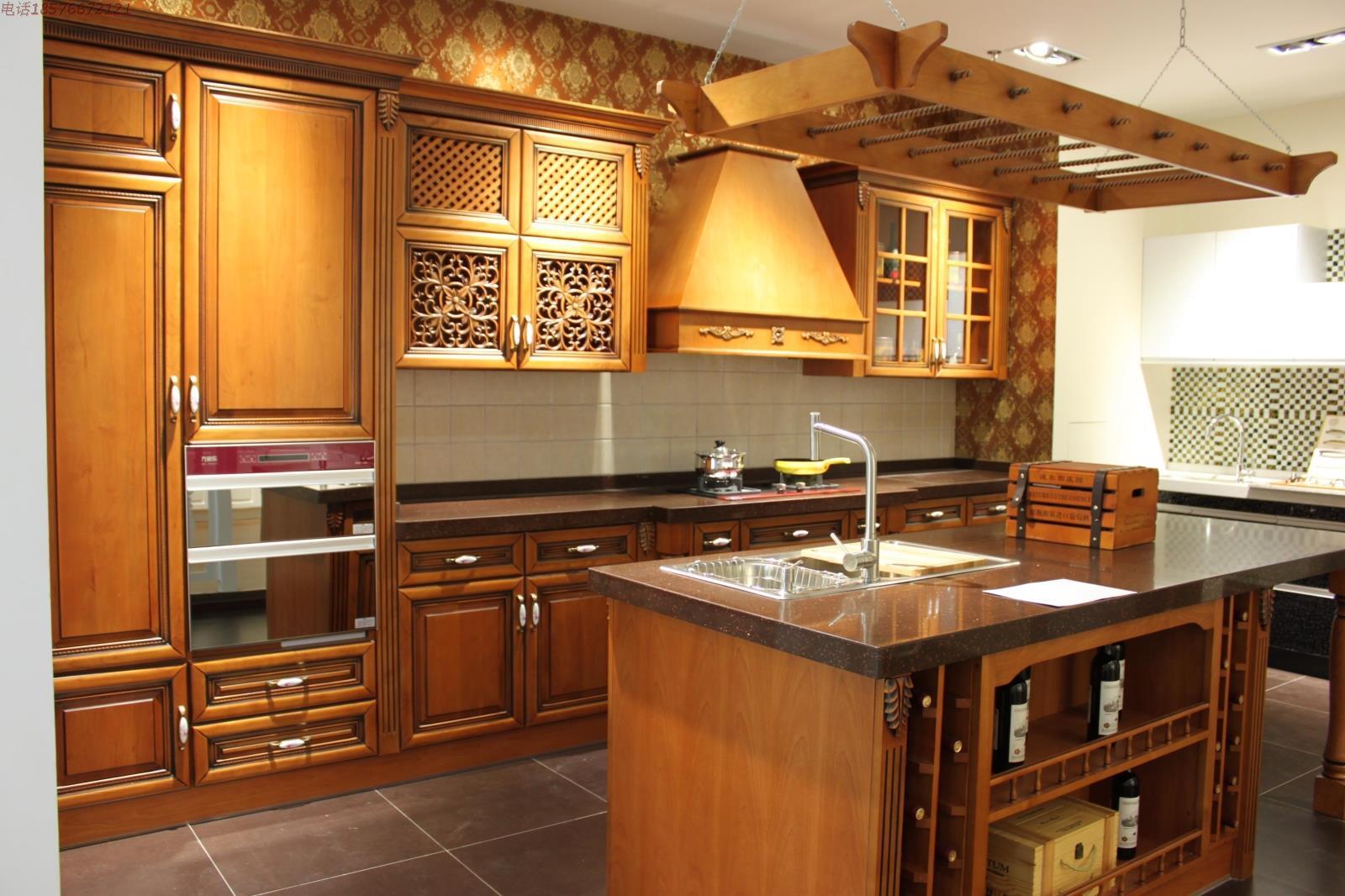 Oak cherry wood solid wood modular kitchen cabinet ...