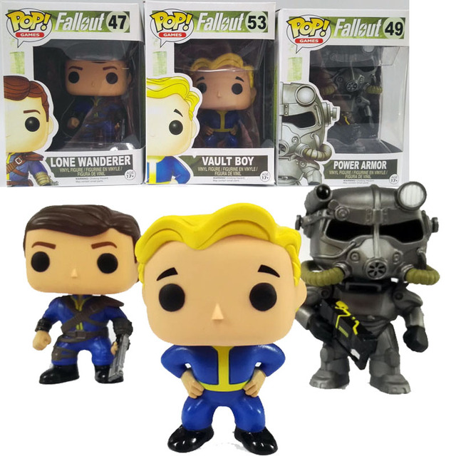Funko Pop Fallout 4 Vault Boy 53# Lone Wanderer Poer Armor Game Action Figure PVC Collection Toy 10cm hot Gifts Free Shipping