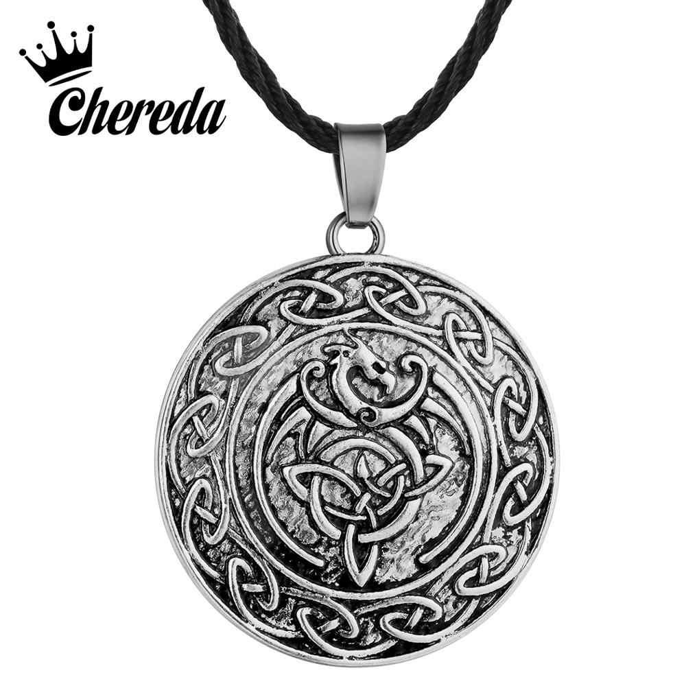 Chereda Valknut dwustronnie Viking słowiański naszyjnik dla mężczyzn talizman węzeł smok Punk wisiorek naszyjniki chłopiec prezent