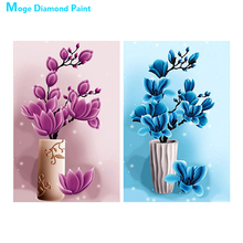 floral vase Moge Diamond Painting Full Round Yulan Red blue New DIY Sticking Drill Cross Embroidery 5D simple Home Decoration