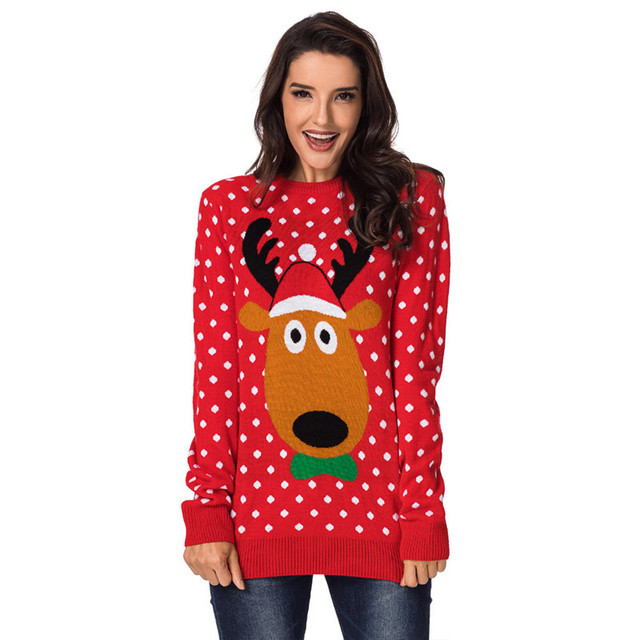 1ecf4900a Cute Reindeer Wearing Xmas Hat Patterned Christmas Sweater for Women ...