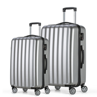 2017 Fochier Travel Luggage Set 4 Wheels Cabin ABS Hard Shell Trolley Suitcase Silver 20 24inch