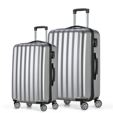 2017 Fochier Journey Baggage set four Wheels Cabin ABS Onerous Shell Trolley Suitcase Silver 20 24inch