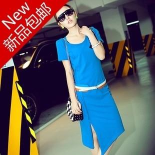 Summer casual beading fashion o-neck cotton short-sleeve dress slim placketing full dress