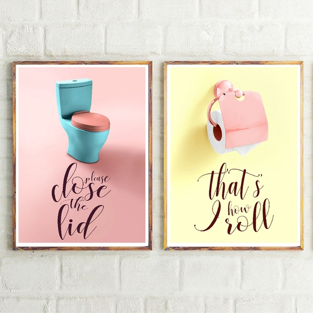 Funny Bathroom Art Colorful Prints Kids Toilet Rules Sign Poster