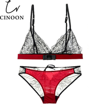 CINOON Lace Bra Set Wireless Brassiere Suit See Through Bralette Bikini Fashion Crop Top Triangle Bra Sexy Bust lingerie set