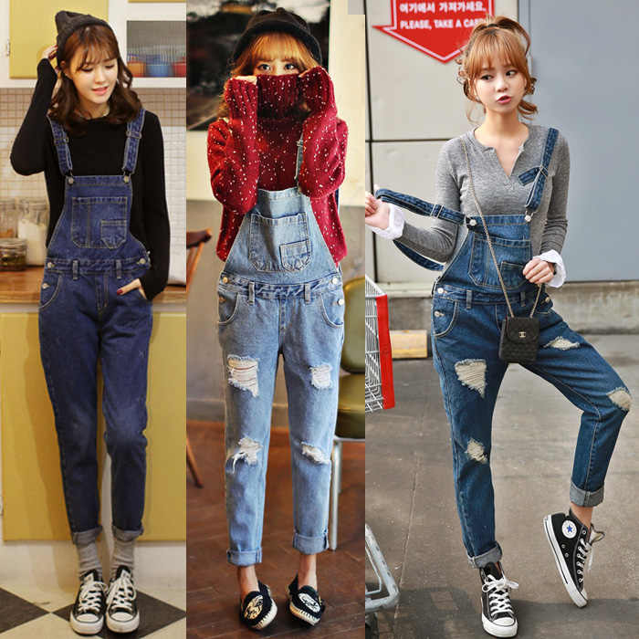 07189129a90b 2017 New Free shipping Plus size Korean New Womens Jumpsuit Denim Overalls  Casual Skinny Girls Pants