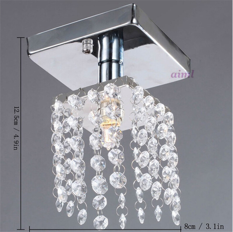 купить Luxury LED crystal chandelier lighting Corridor lamp lighting Chrome lustre fixtures free shipping MINI ceiling D150mm H230mm по цене 4691.83 рублей