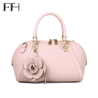 2017 Classic Fashion Women Leather Frame Tote Bag With Rose Flower SexyLady Luxury Shoulder Handbag Female