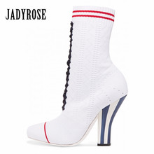 Jady Rose White Women Knitted Ankle Boots Stretch Sock Boots Strange High Heels Female Autumn Elastic Botas Mujer Valentine Shoe